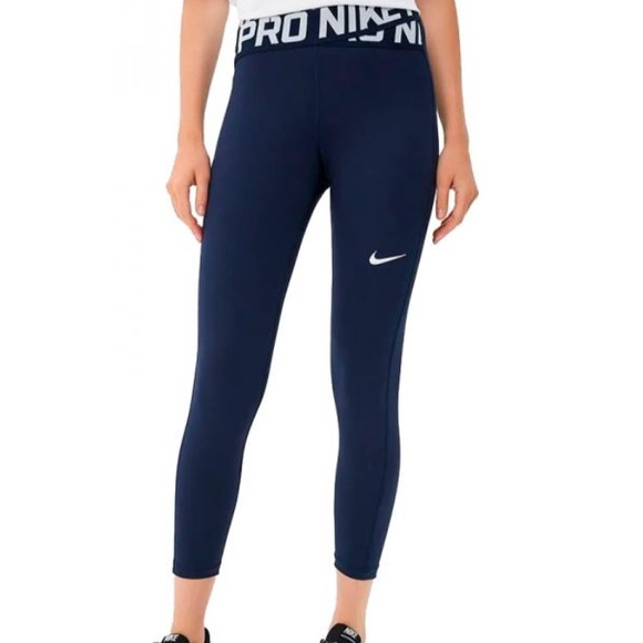 42efa257303656 Nike Pants | Crossover Pro 78 Tights Navy And White | Poshmark
